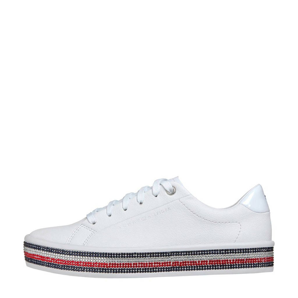Tommy Hilfiger   leren sneakers wit, Wit/blauw/rood