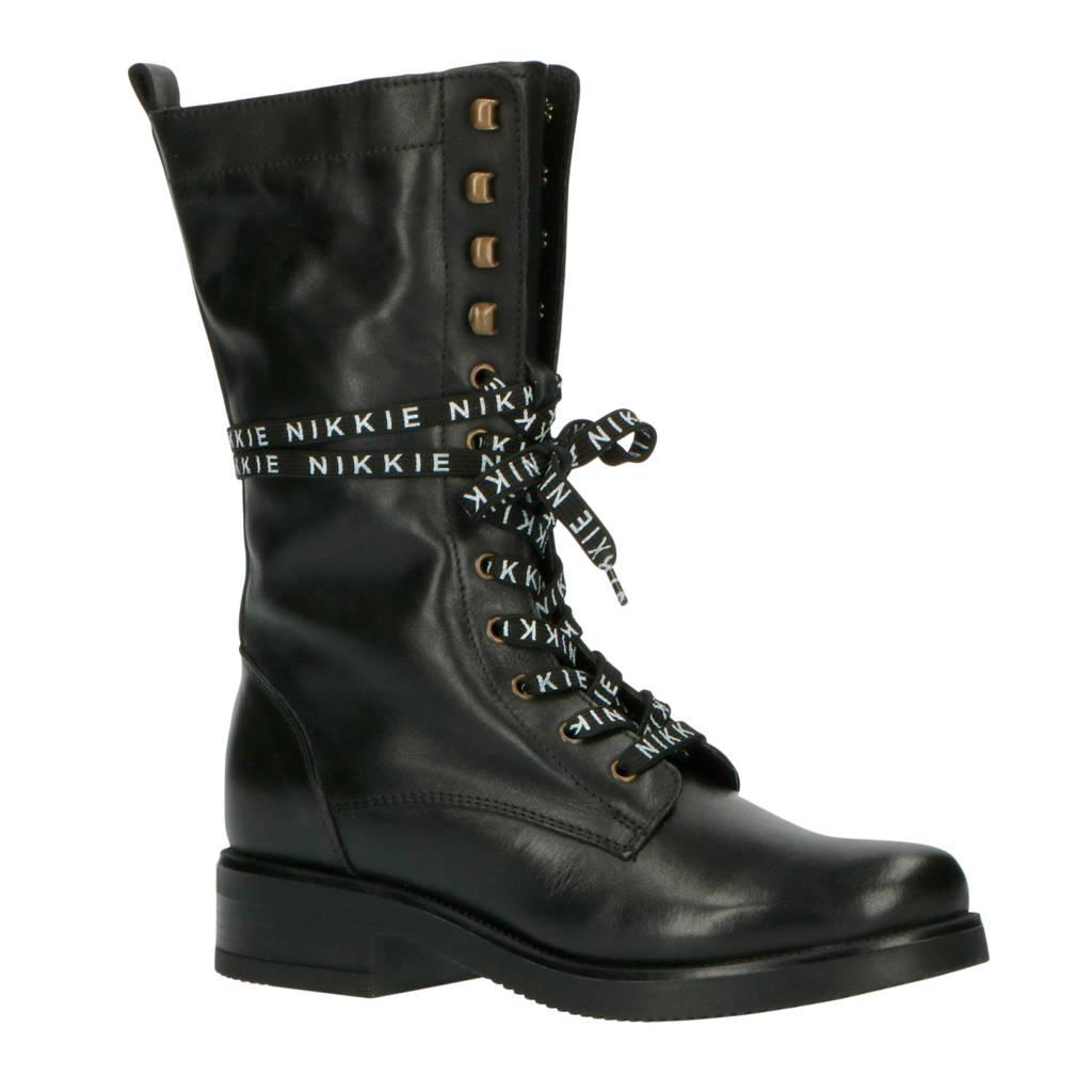 NIKKIE Lace Boots  leren veterboots zwart, Zwart