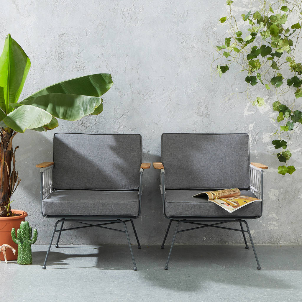 whkmp's own tuinstoel Avallon (set van 2), Grijs/antraciet