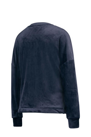 Casual velours loungetop donkerblauw