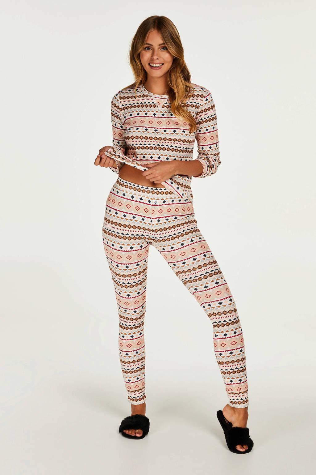 Hunkemöller pyjama met all over print ecru, Ecru/geel/rood