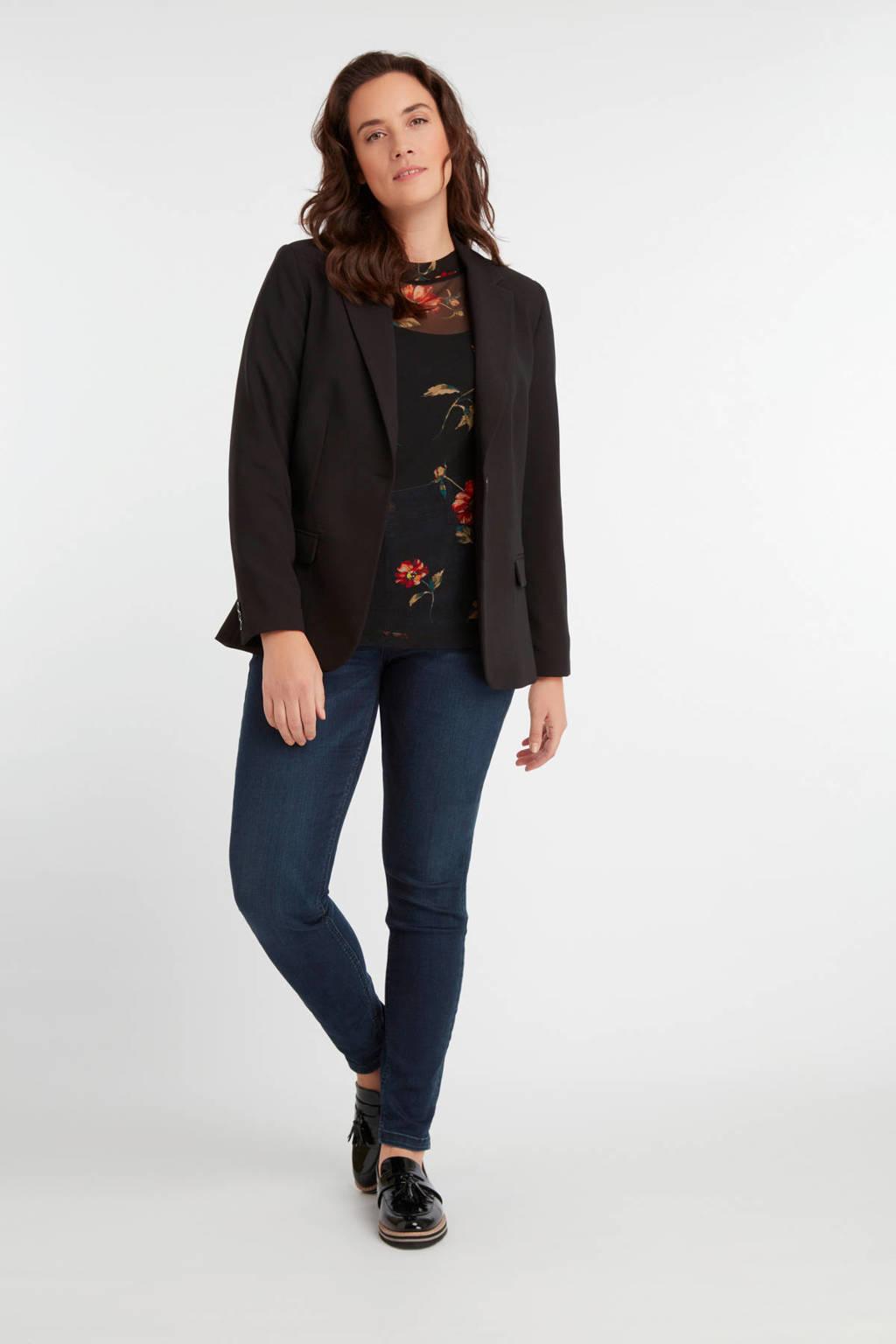 MS Mode gebloemde semi-transparante top zwart, Zwart
