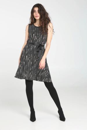 jurk met all over print en glitters grijs/zilver