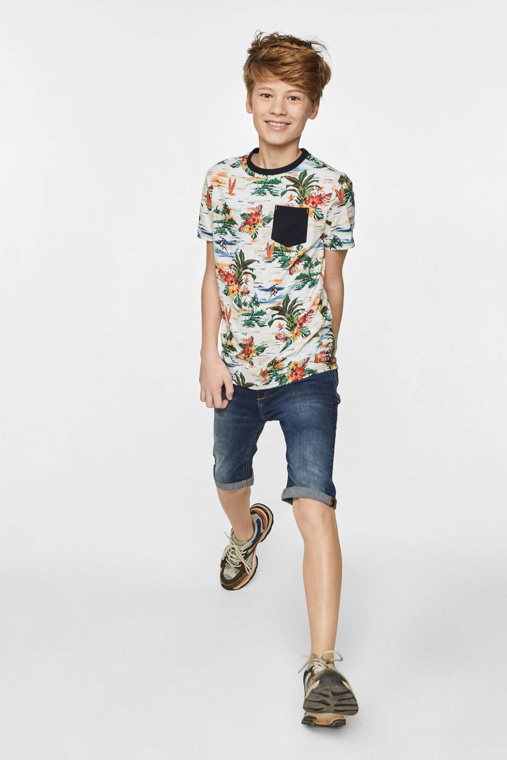 WE Fashion T-shirt met all over print wit/multi, Wit/multi