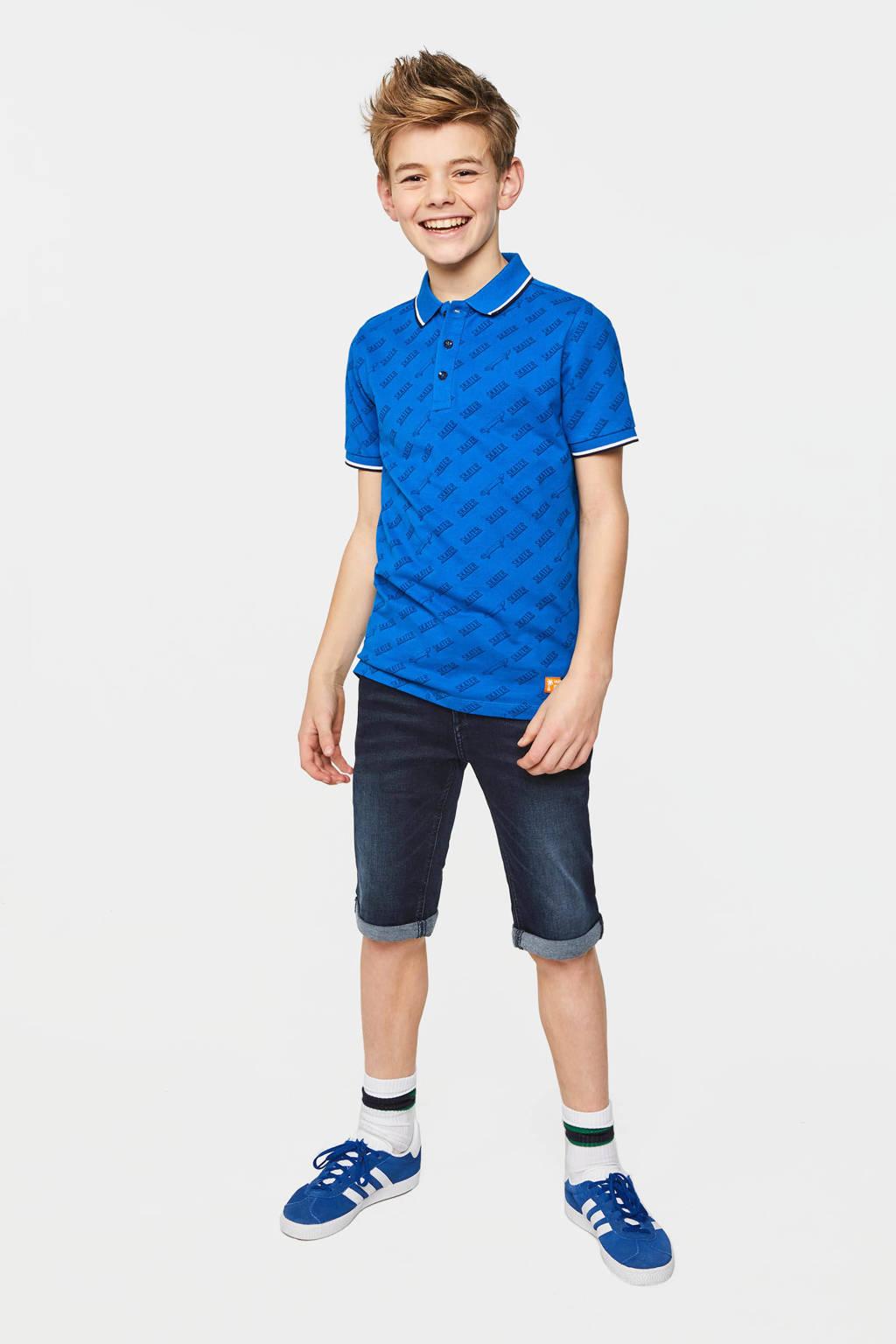 WE Fashion polo met all over print blauw/zwart/wit, Blauw/zwart/wit