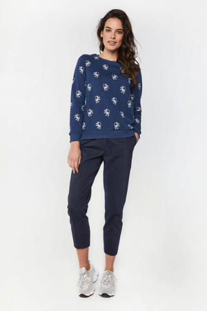 sweater met all over print donkerblauw