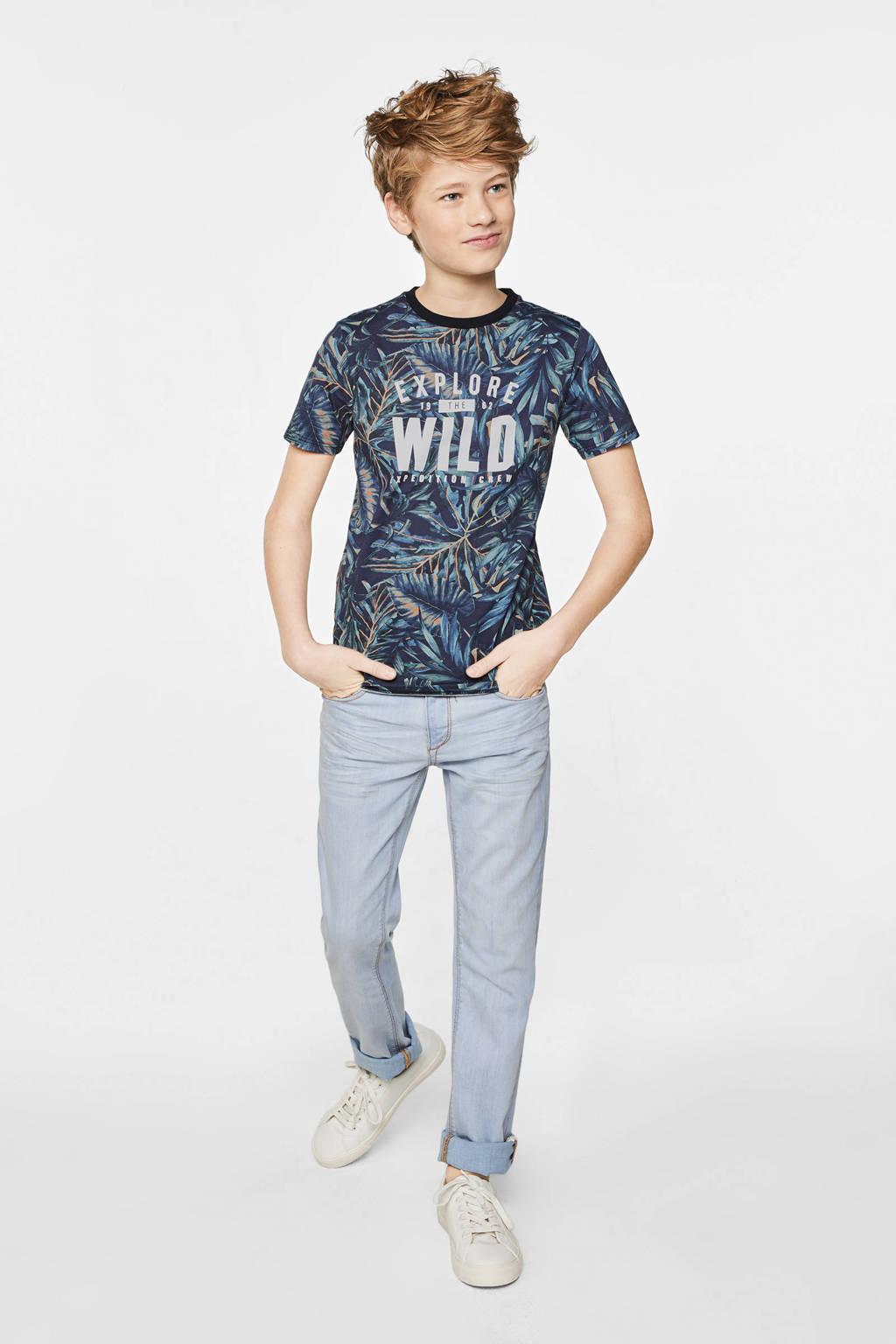 WE Fashion T-shirt met bladprint donkerblauw/oranje/wit, Donkerblauw/oranje/wit