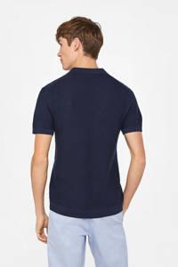 WE Fashion slim fit polo met linnen donkerblauw, Donkerblauw
