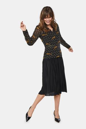 plissé rok met contrastbies zwart