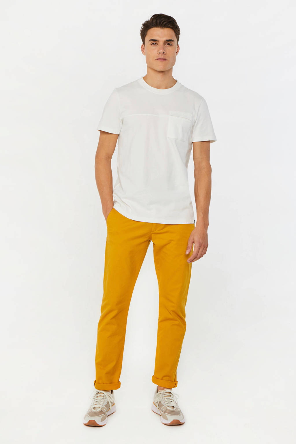 WE Fashion slim fit chino honey mustard, Honey Mustard