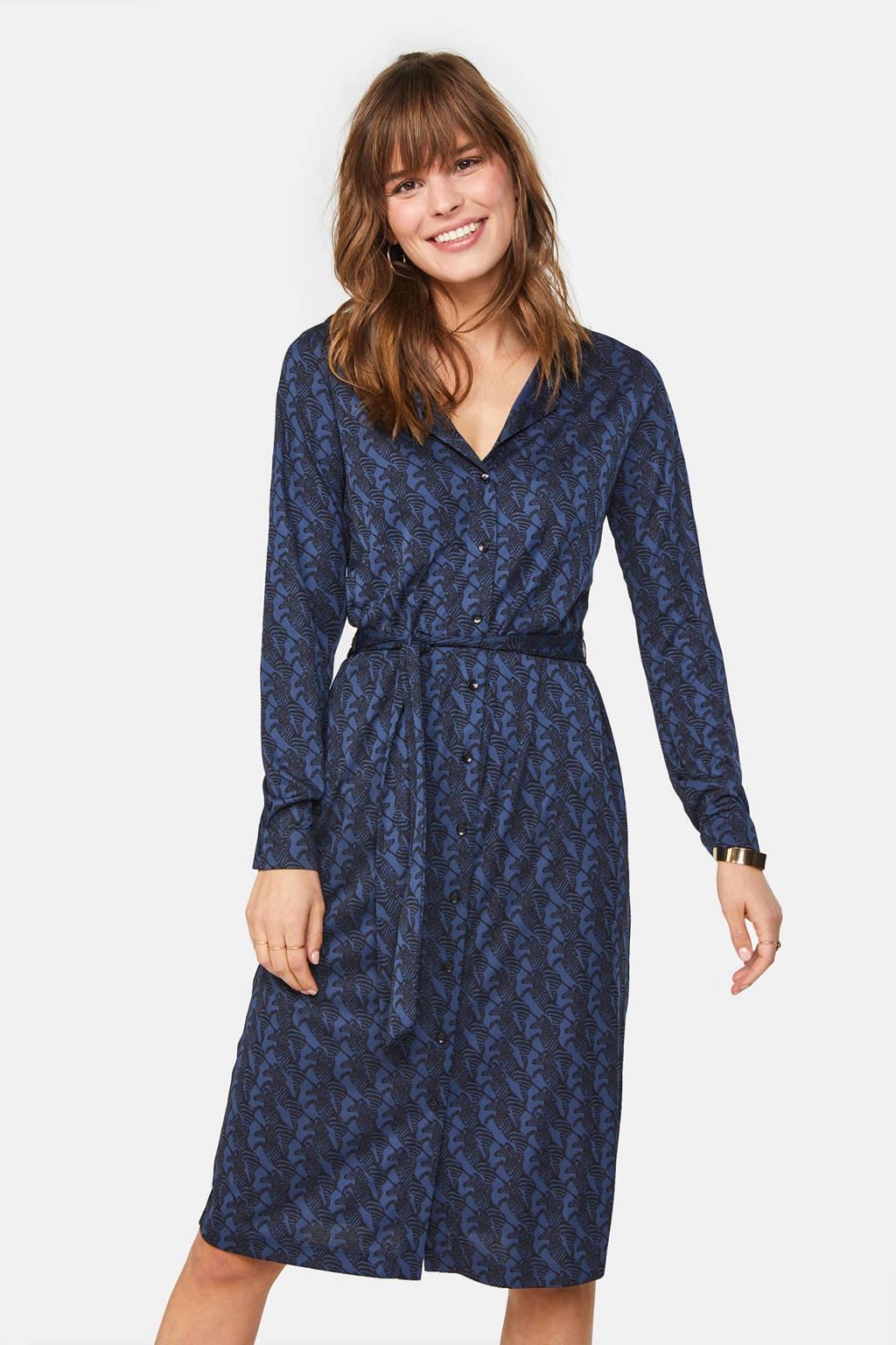 WE Fashion blousejurk met all over print en ceintuur donkerblauw, Donkerblauw