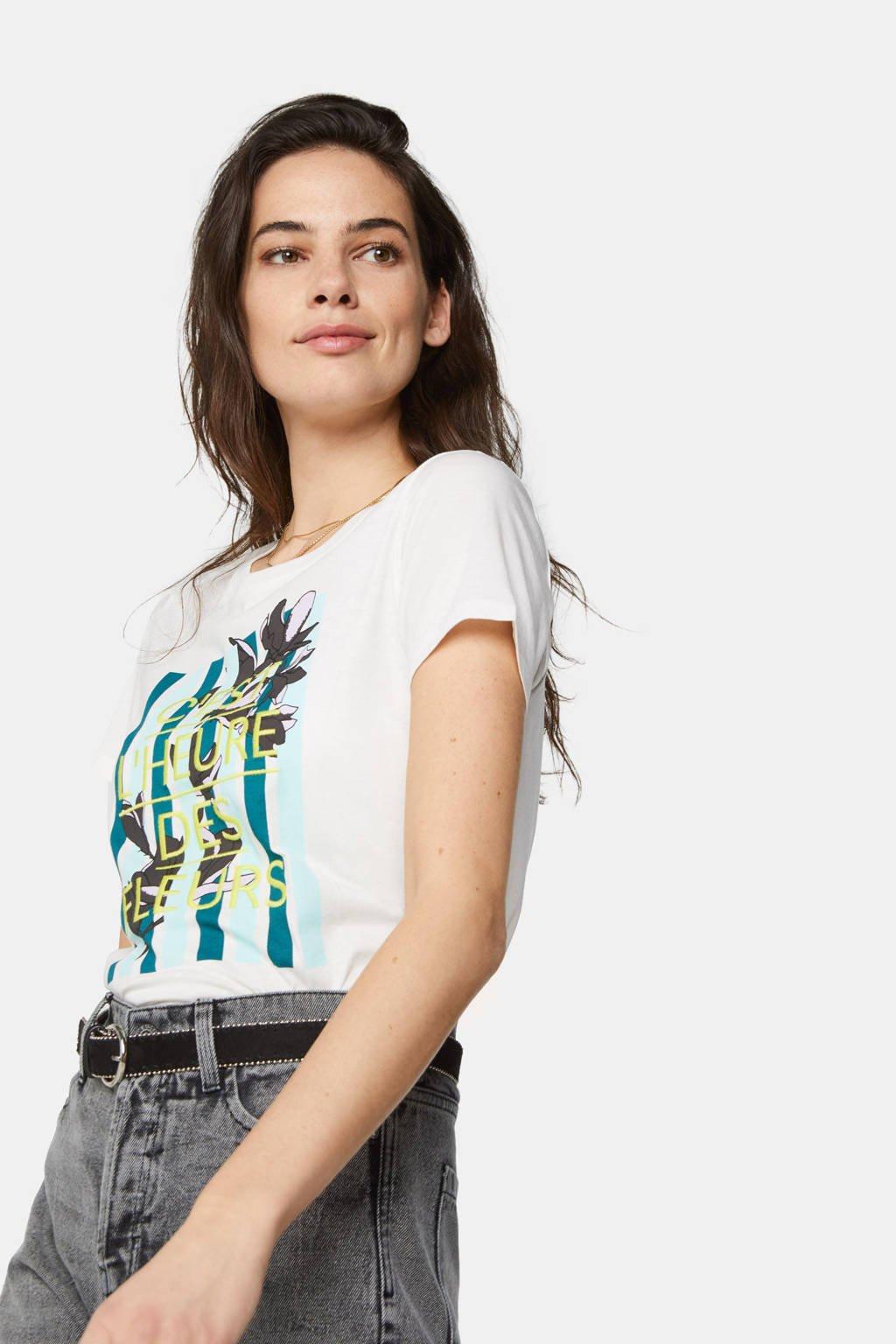 WE Fashion T-shirt met printopdruk ecru, Ecru