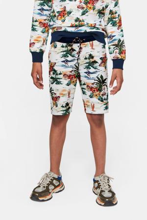 slim fit sweatshort met all over print multicolor