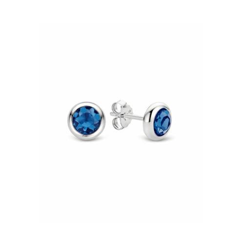 TI SENTO Milano 7748DB zilveren Oorbellen met blauwe zirkonia 6 mm