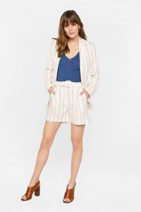 WE Fashion gestreepte high waist straight fit short met linnen wit/beige, Wit/beige