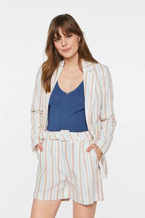 gestreepte blazer met linnen wit/roze/blauw