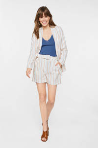 WE Fashion gestreepte blazer met linnen wit/roze/blauw, Wit/roze/blauw