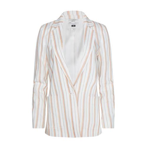WE Fashion gestreepte blazer met linnen wit/roze/b