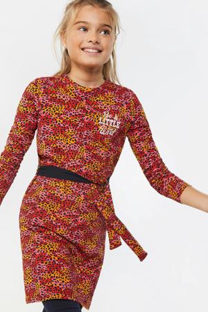 jersey jurk met alloverprint en borduursels oranje/rood/roze