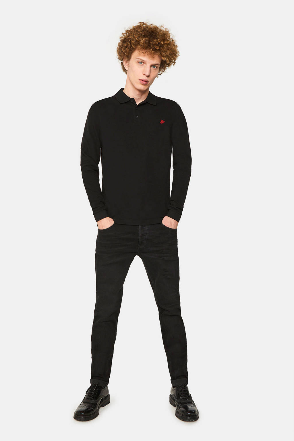WE Fashion slim fit polo met biologisch katoen black uni, Black Uni