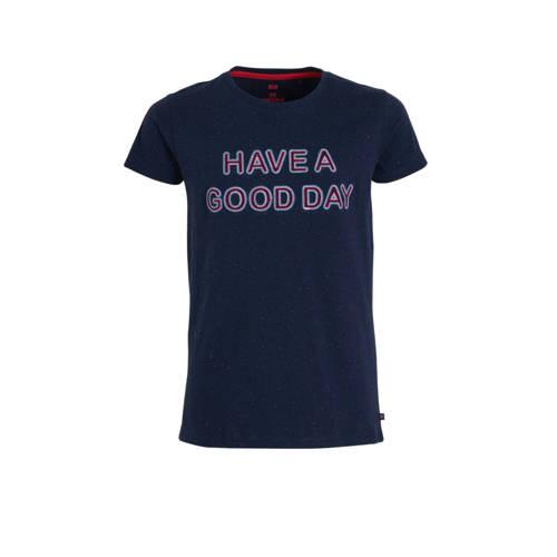 WE Fashion T-shirt met tekst donkerblauw