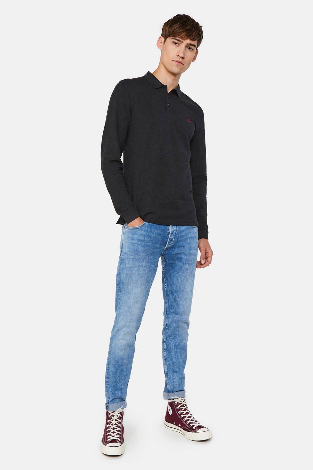 WE Fashion slim fit polo met biologisch katoen black melange, Black Melange