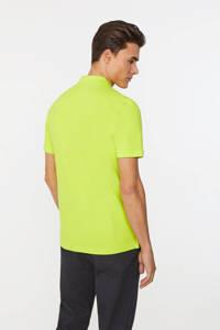 WE Fashion slim fit polo van biologisch katoen lime green, Lime Green