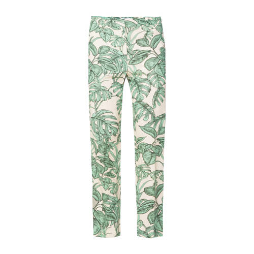 WE Fashion high waist regular fit broek met linnen