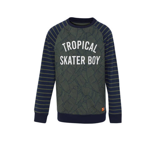 WE Fashion sweater met bladprint donkergroen/donke