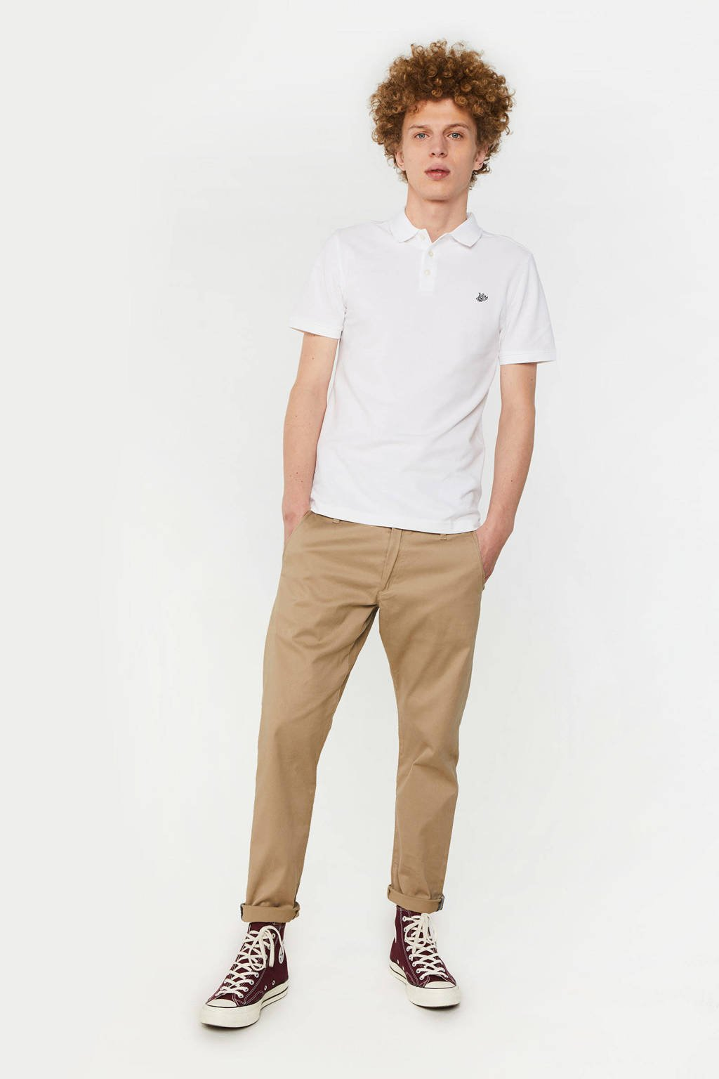 WE Fashion regular fit polo white uni, White Uni