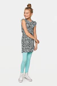 WE Fashion jersey jurk met zebraprint en borduursels wit/zwart/lichtblauw, Wit/zwart/lichtblauw