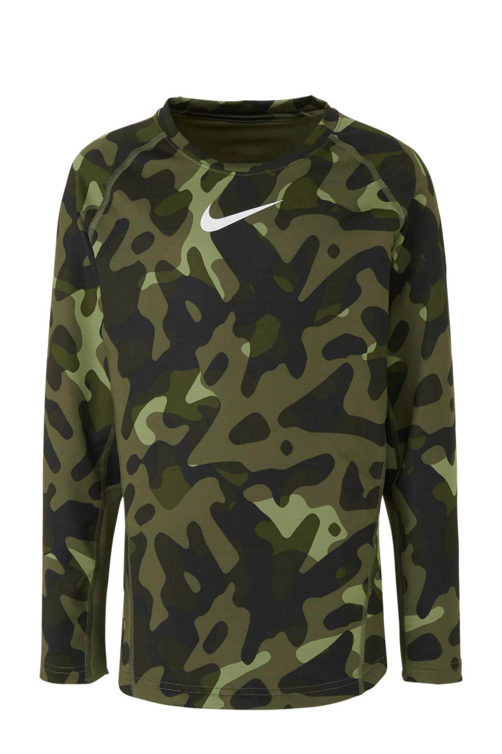 Nike   Pro Warm sport T-shirt camouflage, Groen camouflage