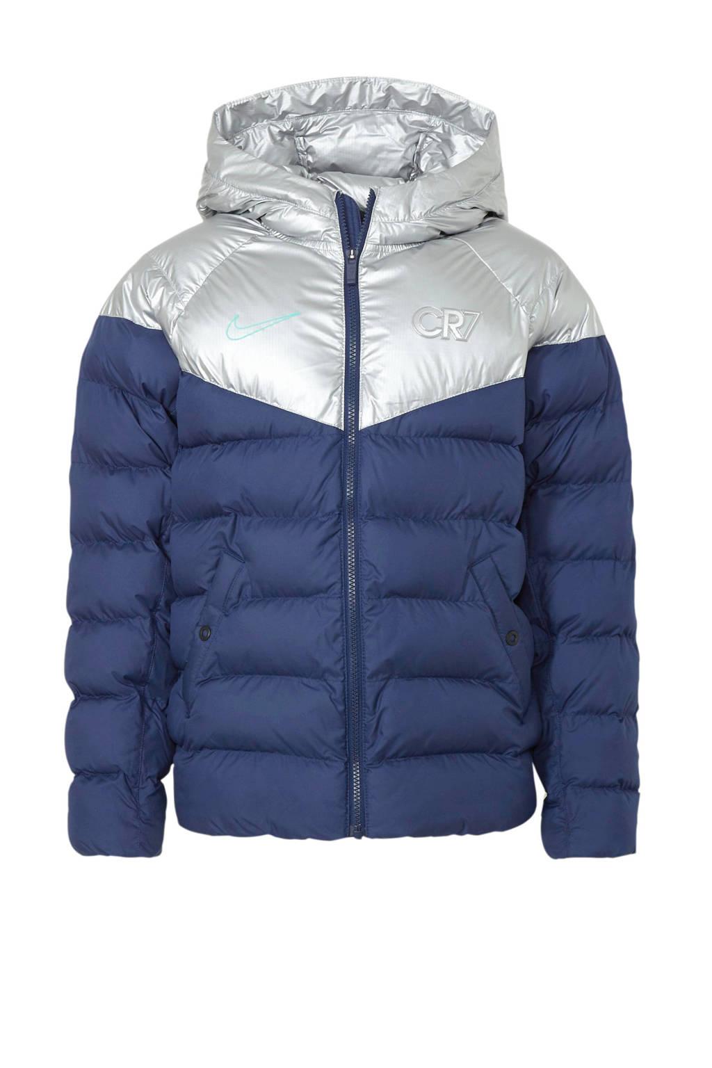 Nike gewatteerd jack blauw/zilver, Blauw/zilver