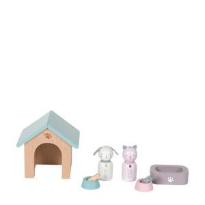 houten poppenhuis uitbreidingsset huisdieren 8-delig