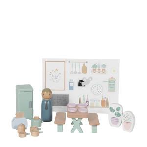 houten poppenhuis uitbreidingsset keuken 19-delig