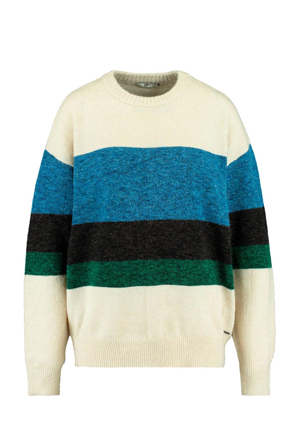 America Today gebreide trui blauw/zwart/groen, Blauw/zwart/groen
