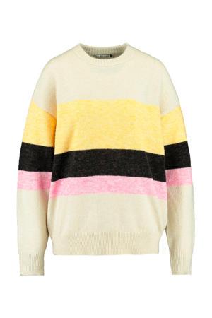 gebreide trui geel/zwart/roze