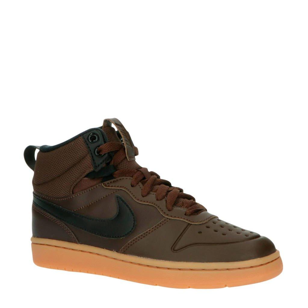 Nike Court Borough Mid 2 leren sneakers donkerbruin, Donkerbruin