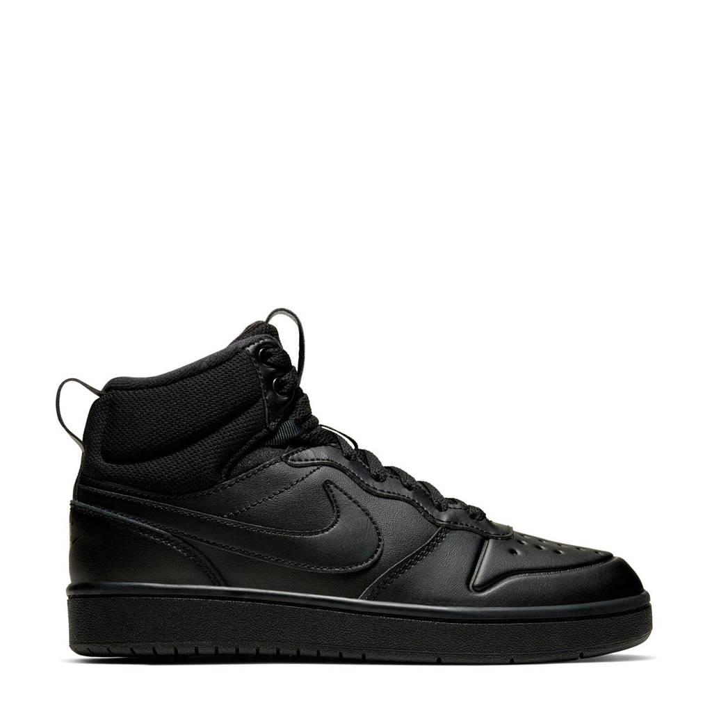 Nike Court Borough Mid 2 leren sneakers zwart, Zwart