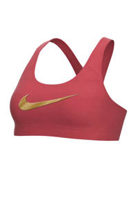 Nike Level 3 sportbh roodbuin, Roodbruin/goud