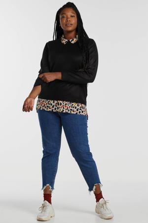 fijngebreide trui met panterprint zwart