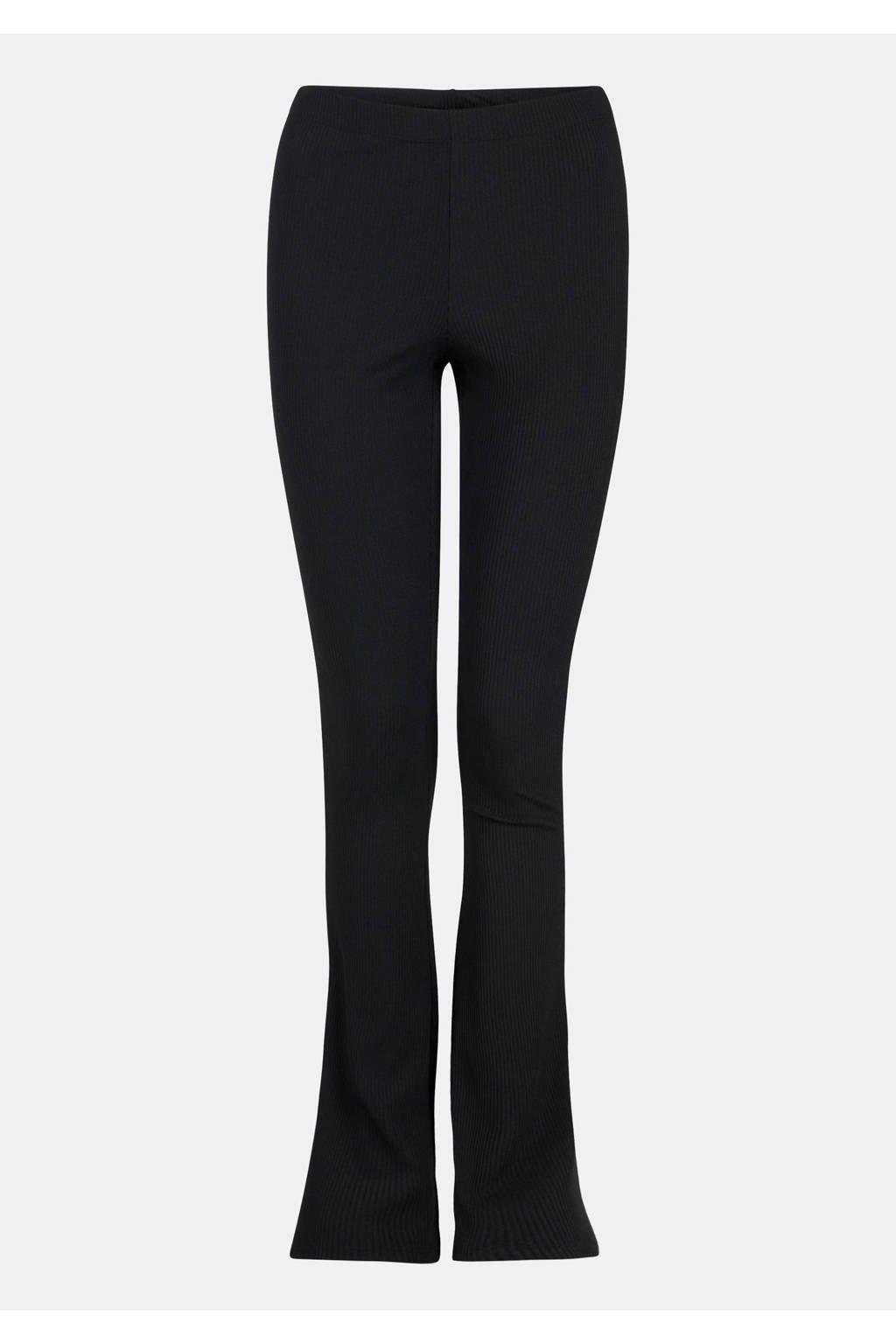 Eksept by Shoeby rib flared legging zwart, Zwart