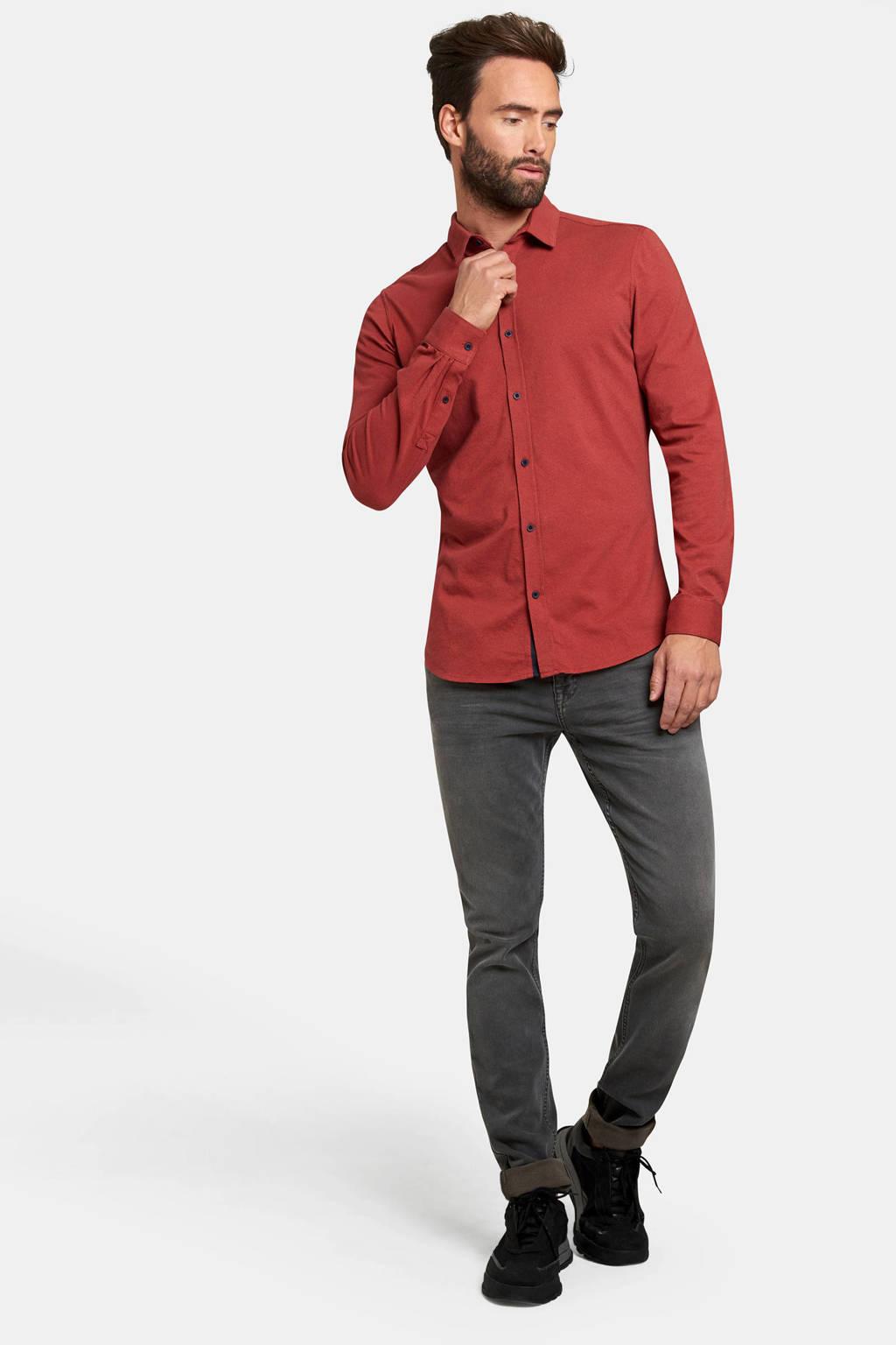 Refill by Shoeby gemêleerd slim fit overhemd rood, Rood