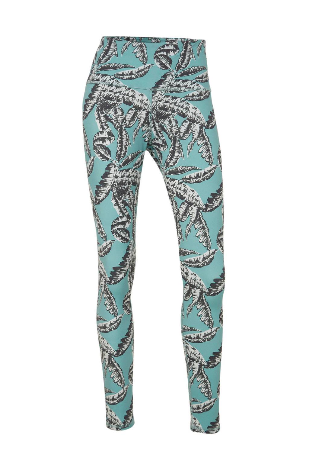 10DAYS legging met bladprint lichtblauw/zwart/wit, Lichtblauw/zwart/wit