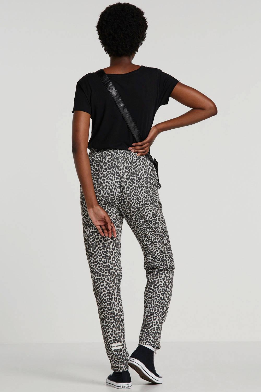 10DAYS high waist tapered fit broek met panterprint grijs