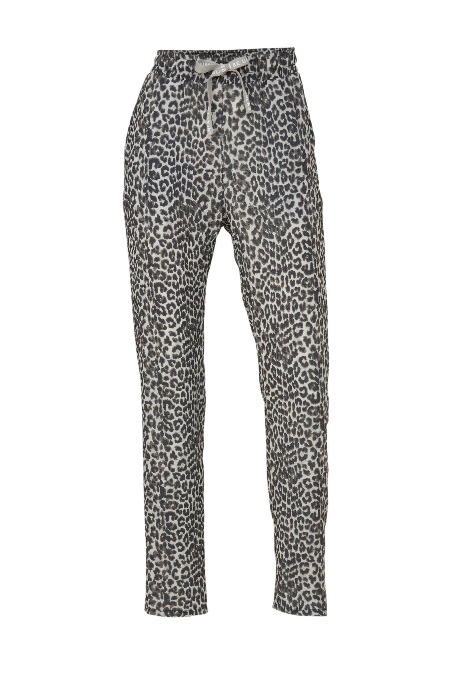 high waist tapered fit broek met panterprint grijs