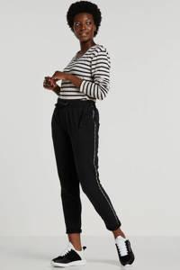 10DAYS slim fit joggingbroek met zijstreep zwart, Zwart