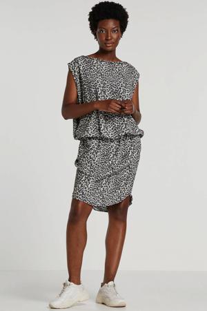 jersey jurk met panterprint wit/grijs