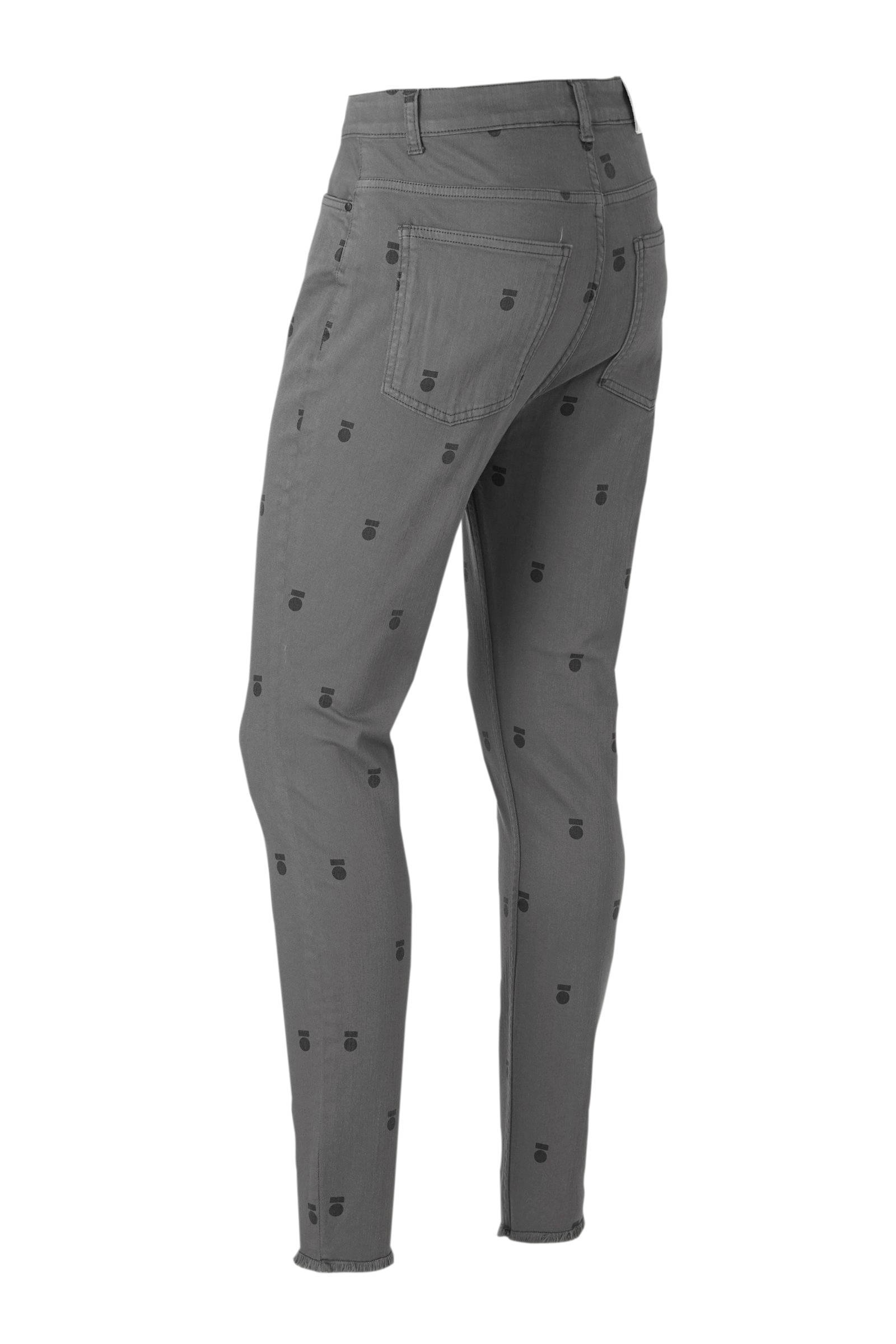 10DAYS high waist skinny jeans met all over print grijs