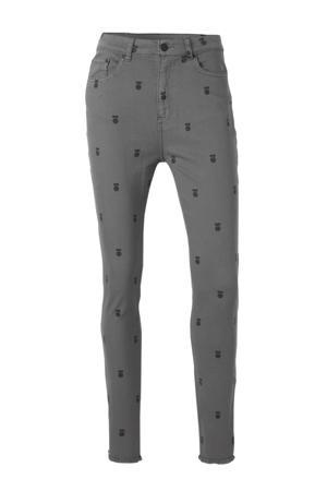 high waist skinny jeans met all over print grijs